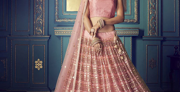 Pretty and Trendy Heavy Designer Pink Color Lehenga Choli Set