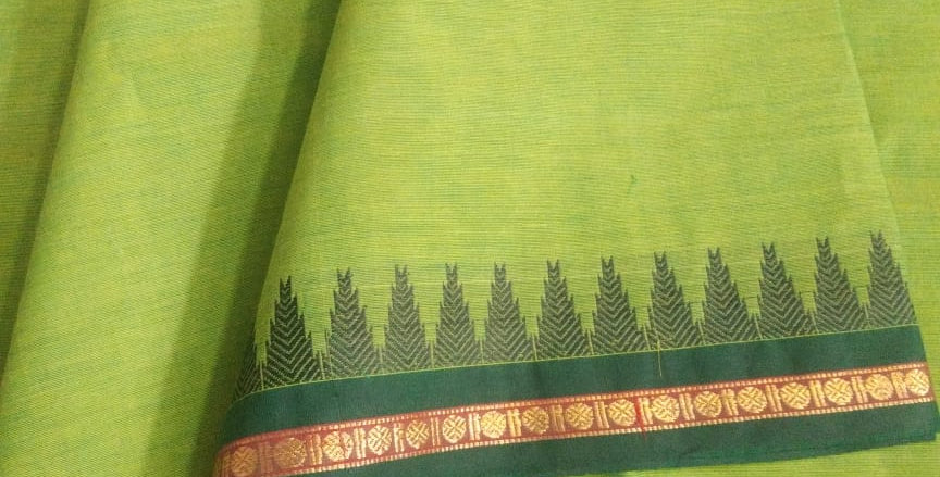Traditional Cotton Sarees for Pongal Festive Light Green Color