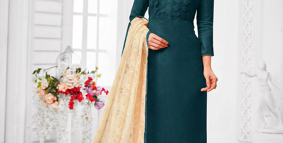 Here Is A Pretty Designer  Teal Blue Color Straight Salwar Suit