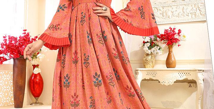 Celebrate Festive Season Wearing This Designer Orange Color Readymade Gown