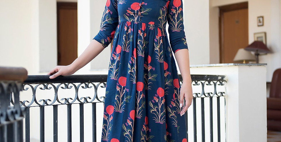 Designer Partywear Printed Blue Pure Maslin Gown
