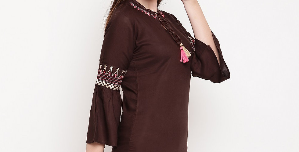 Readymade Kurtis (Fancy Top) In Brown Color
