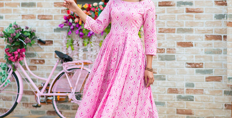 Partywear Designer Digital Printed Light pink Pure Maslin Gown