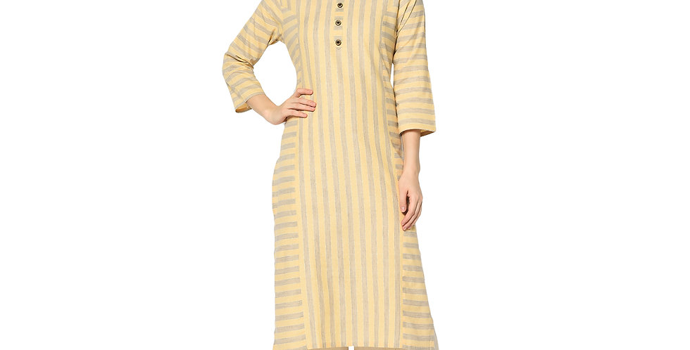 Readymade Straight Kurti In Light Yellow Color Fabricated On Cotton