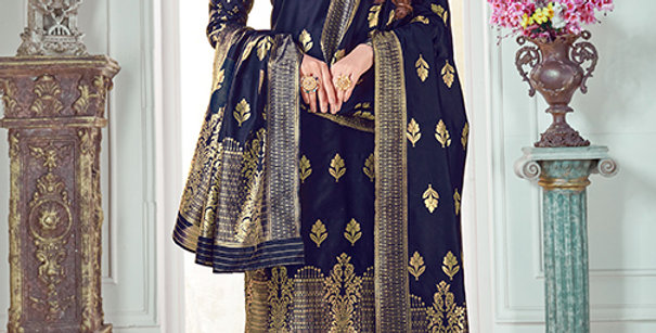 Pretty Causal Wear Navy Blue Color Straight Salwar Suit