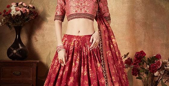 Pretty and Trendy Heavy Designer Pink &MaroonColor Lehenga Choli Set