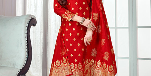 Pretty Causal Wear Red Color Straight Salwar Suit