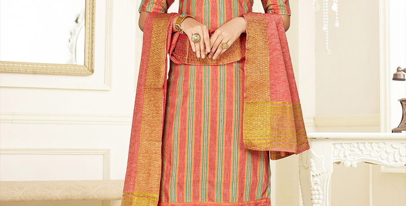 Hera is A  Pretty Designer Dark Peach Color  Straight Salwar Suit
