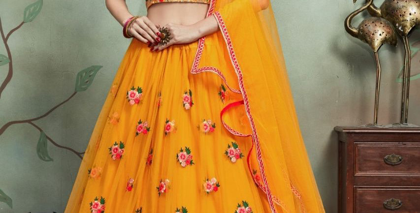 Pretty Heavy Embriodery Yellow Colored  Designer Lehenga Choli Set
