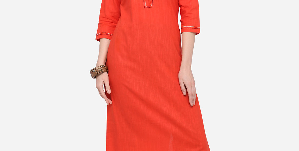 Readymade Straight Kurti In Red Color Fabricated On Cotton
