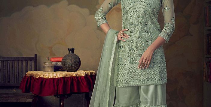 Grab This Very Beautiful Heavy Designer Pastel Blue Color Sharara Suit