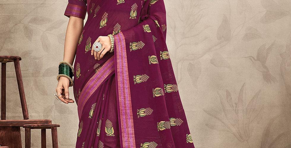 Chanderi Purple Color Designer Saree