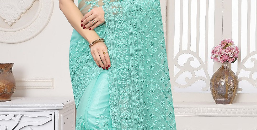 Sea Green Heavy Resham Embroidery Work with Heavy Blouse