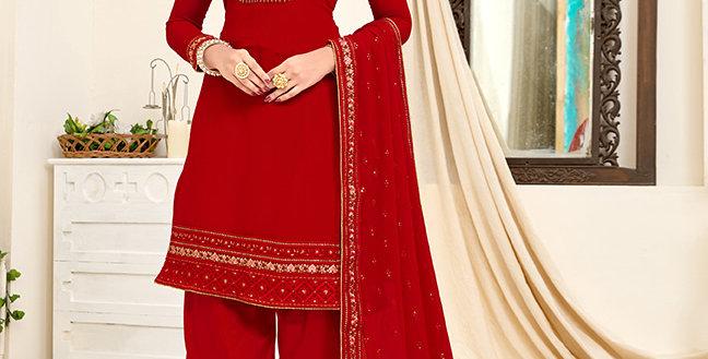 Pretty Designer Red Color Straight Salwar Suit