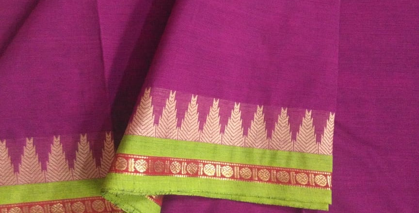 Traditional Cotton Sarees for Pongal Festive Purple Color