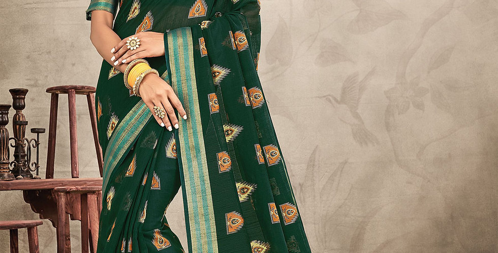 Chanderi Dark Green Color Designer Saree