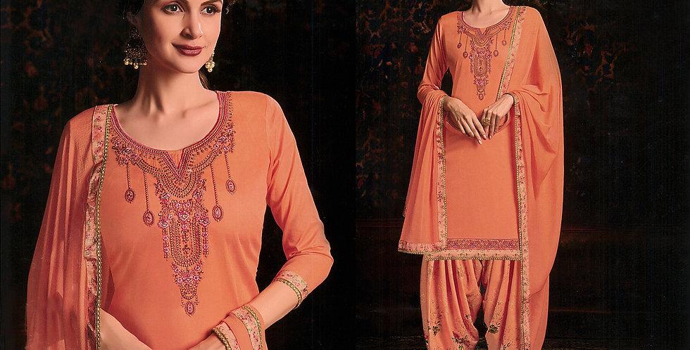 PartyWear Designer Orange Color Cotton Patiala Suit