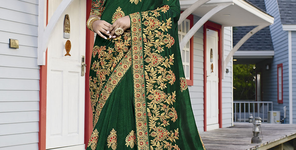 Heavy Designer Saree In Dark Green Color with Art Silk Fabricated