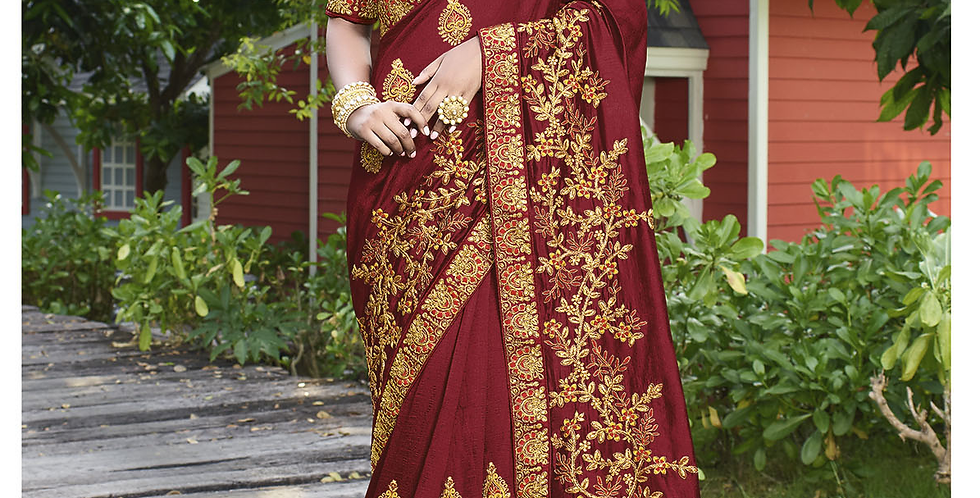 Heavy Designer Saree In Maroon Color with Art Silk Fabricated