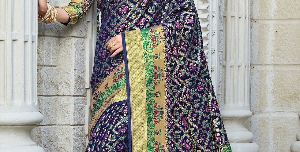 Navy blue Color Patola Silk Sarees for Occasion