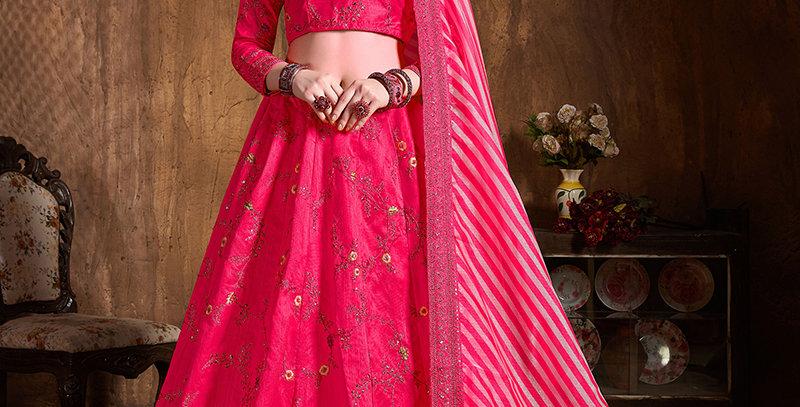 Pretty Heavy Embriodery Pink Colored  Designer Lehenga Choli Set