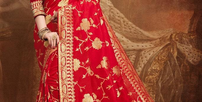 Banarasi Silk Sarees with Heavy Thread Embroidery Work