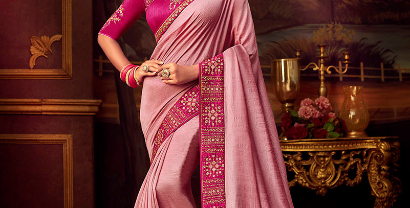 Beautiful Designer Saree In Pink Color Paired With Dark Pink Colored Blouse