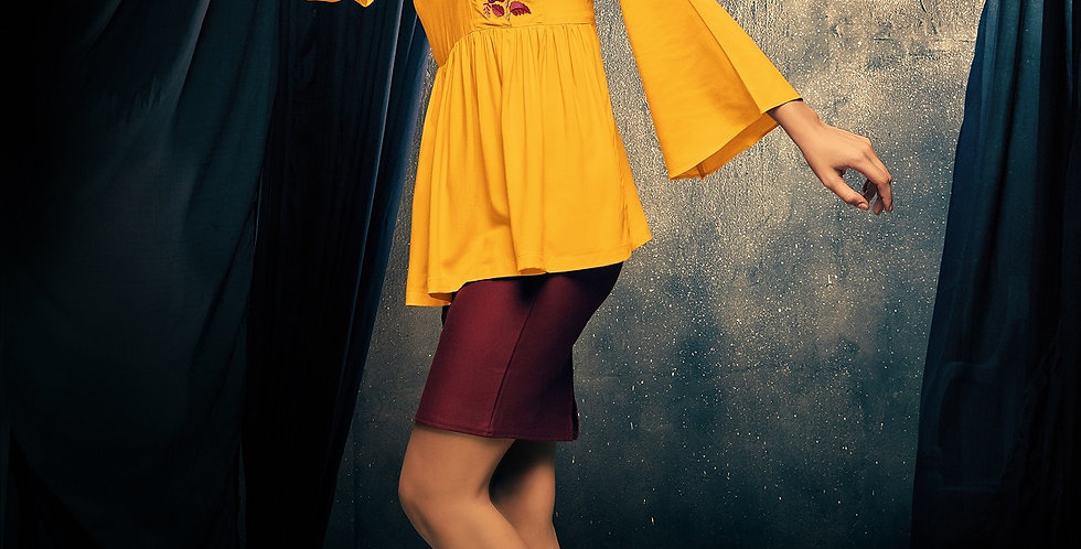 Readymade Kurtis (Fancy Top) In Musturd Yellow Color