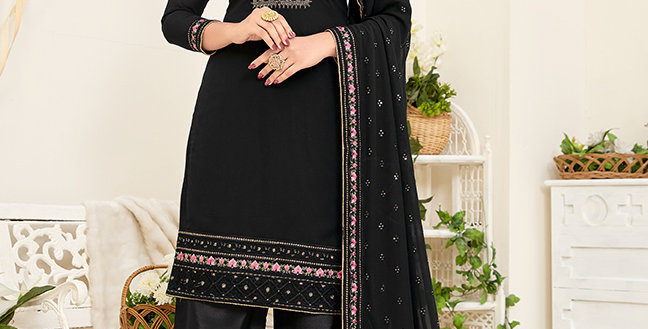 Pretty Designer Black Color Straight Salwar Suit