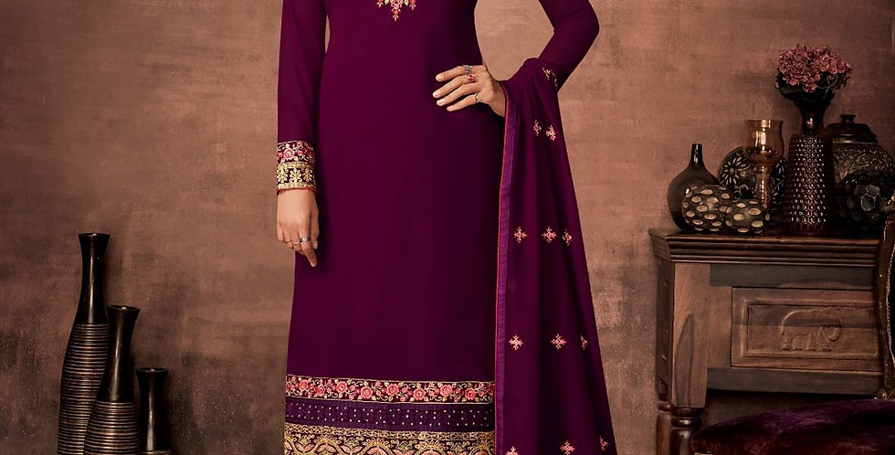 PartyWear Is A Very Pretty Designer Purple Color Straight Suit