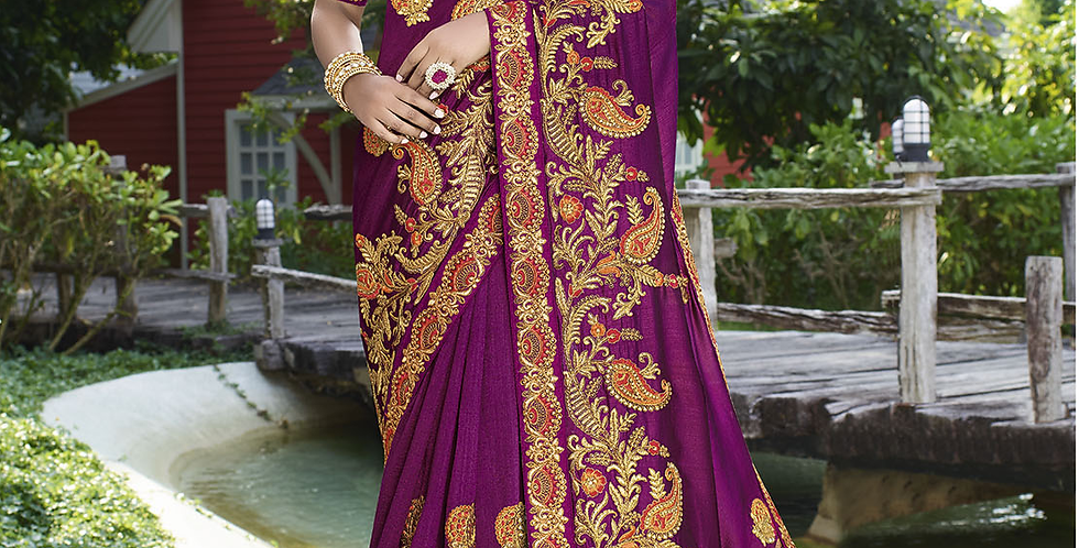 Heavy Designer Saree In Bright Purple Color with Art Silk Fabricated