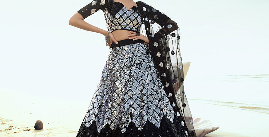 Pretty Heavy Embriodery Black  Colored  Designer Lehenga Choli Set