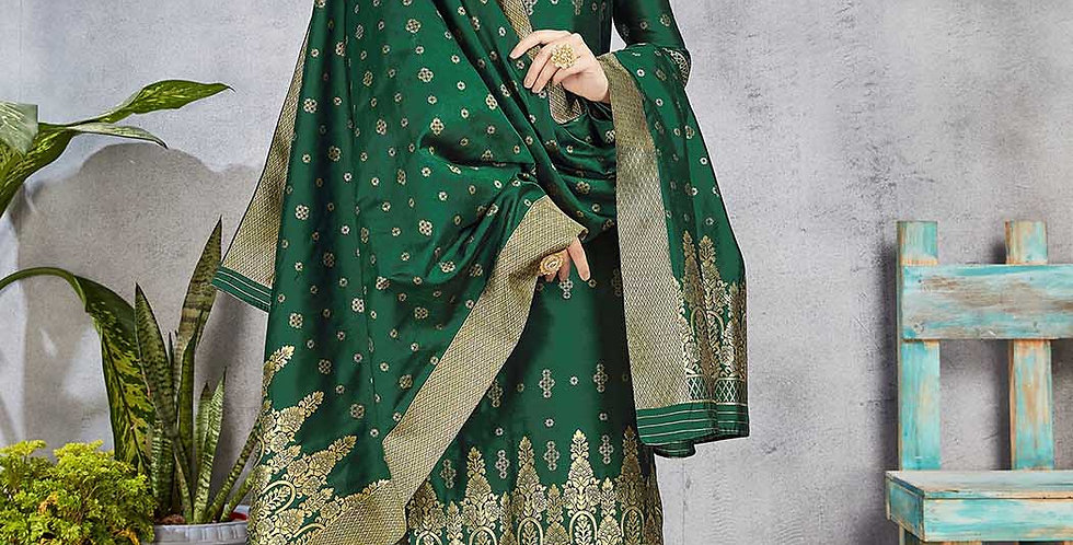 Festive Season Wearing this Designer Pine Green Color Straight Suit