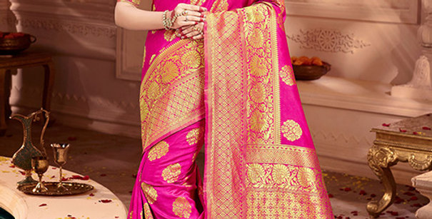 Uniqe Style Pretty Designer  Rani Pink Colored Heavy�Weaved Saree with Blouse