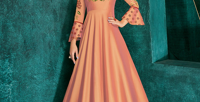 Festive Season Wearing This Designer Peach Color Readymade Gown