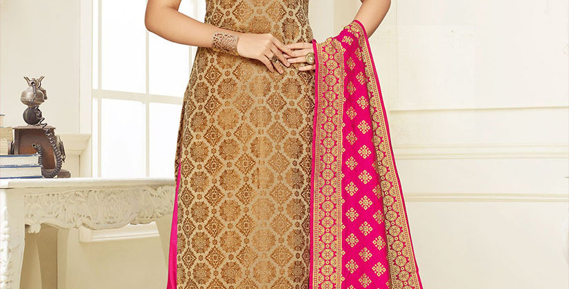 Hera is A  Pretty Designer Beige Color  Straight Salwar Suit