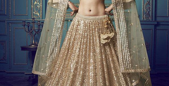 Pretty and Trendy Heavy Designer Beige Color Lehenga Choli Set