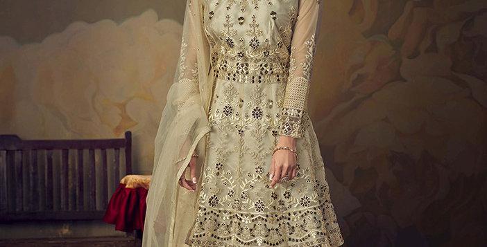 Grab This Very Beautiful Heavy Designer Cream Color Sharara Suit