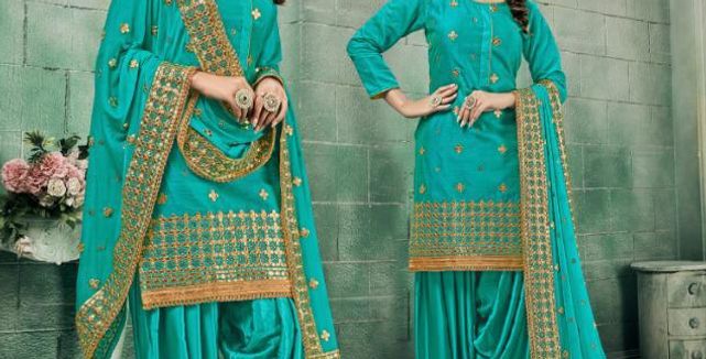 New stylish Teal Grean heavy Patiyala Suit Collection with Gota Patti work