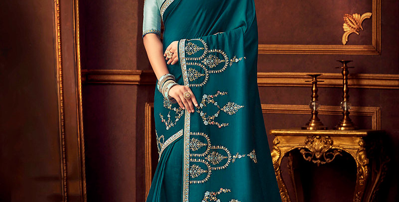 Beautiful Designer Saree In  Blue Color Paired With Sky Blue Colored Blouse