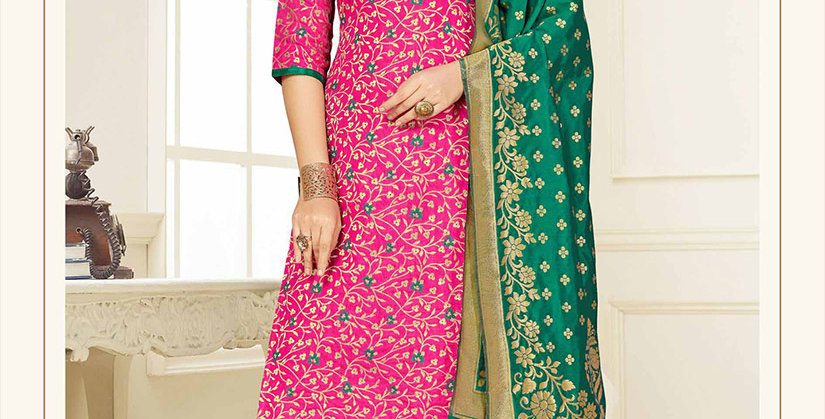 Hera is A  Pretty Designer Rani Pink and Sea Green Color  Straight Salwar Suit