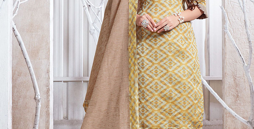 Hera is A  Pretty Designer Mustard and Beige  Color  Straight Salwar Suit