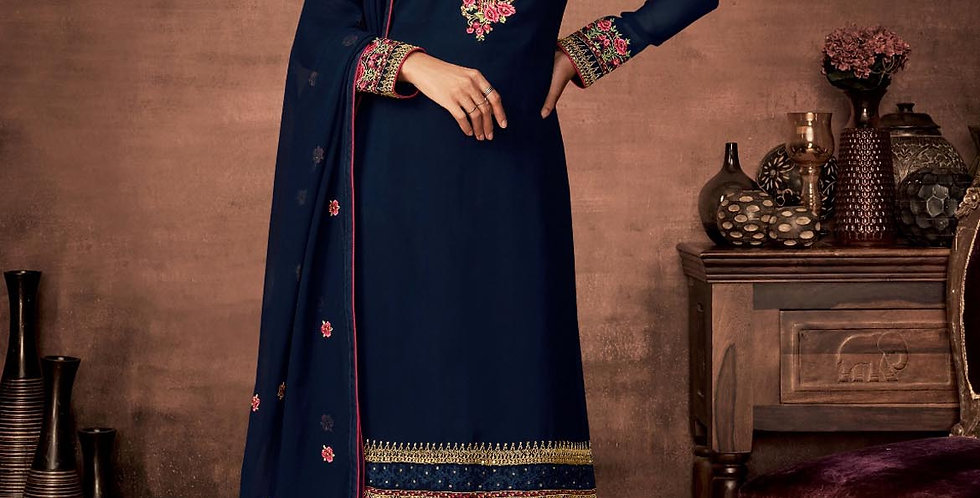 PartyWear Is A Very Pretty Designer Navy Blue Color Straight Suit