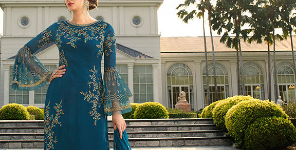 Here Is A Pretty Heavy Designer Blue Color Straight Salwar Suit