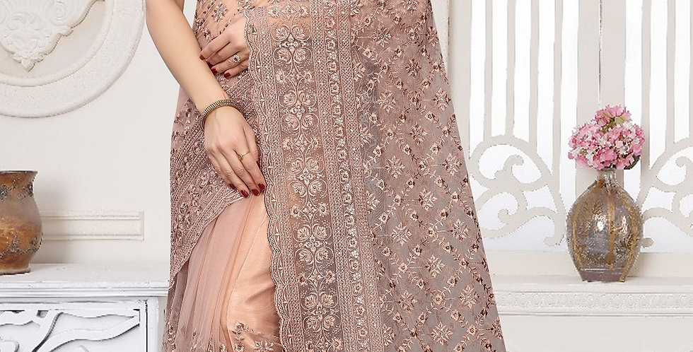 Dusty pink Heavy Resham Embroidery Work with Heavy Blouse