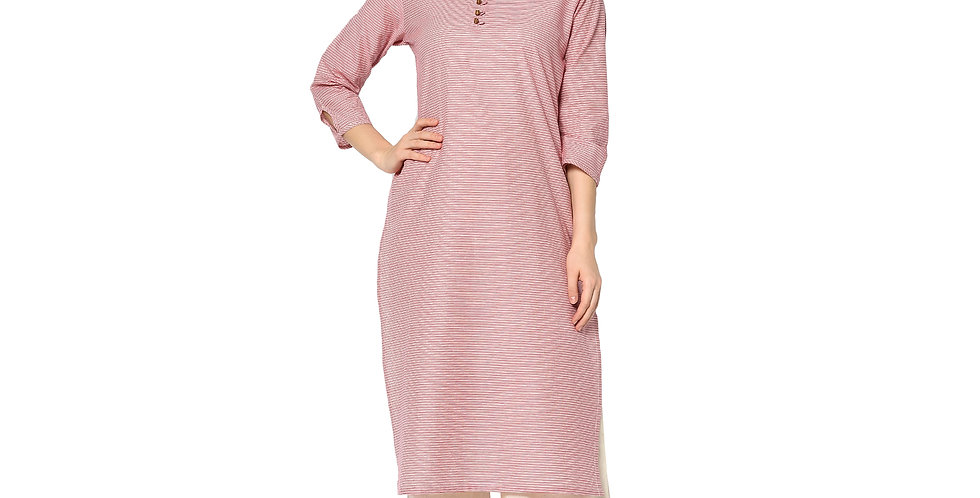 Readymade Straight Kurti In Pink Color Fabricated On Cotton