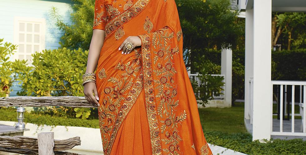 Heavy Designer Saree In Orange Blue Color with Art Silk Fabricated