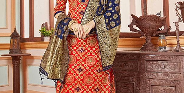 Elegant Looking Silk Based Red  Color Straight Salwar Suit