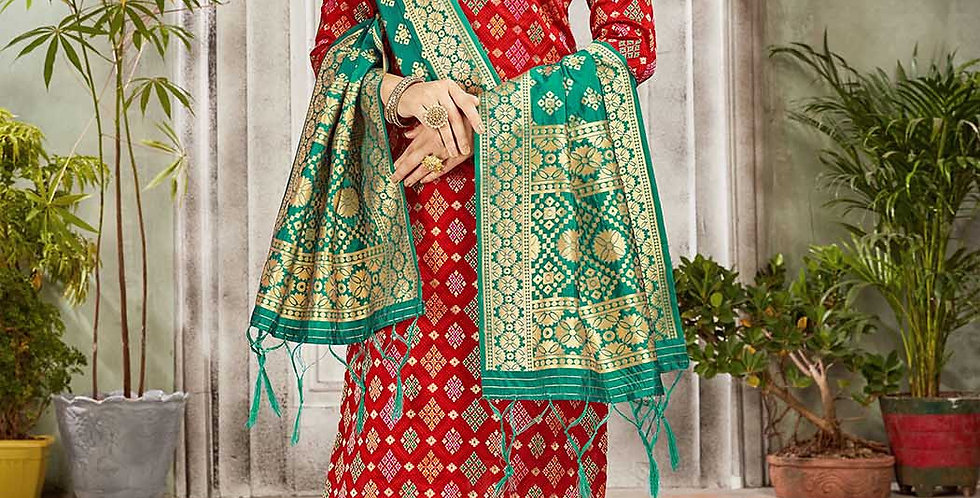 Festive Season Wearing this Designer Red and Sea Green Color Straight Suit