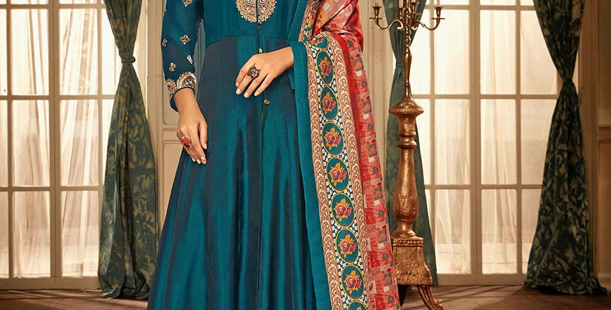 Festive Season With Beauty  Blue Color Readymade Gown with Duppatta